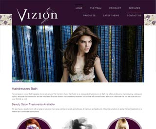Vizion Hairdressers web design in Bath